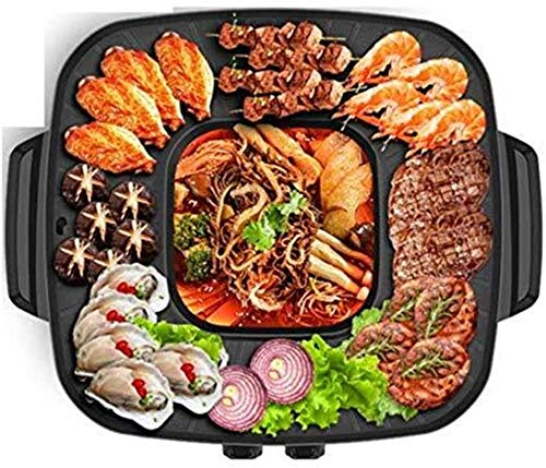 NBHUYT Elektrische Koreaanse barbecue Hot Pot Maifan steen multifunctionele en hot pot tafelgrill en fondue Dual Pot 2100 W [energieklasse A]