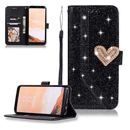 FNBK Kompatibel mit Hülle Samsung Galaxy S8 Handyhülle Glitzer Herz Nähen Ledertasche Schutzhülle Leder Wallet Flip Case Tasche Bookstyle in Schwarz Kartenfächer Stand Klapphülle für Galaxy S8