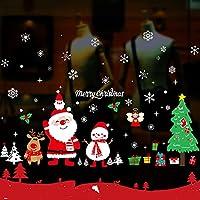 クリスマスデコレーションウィンドウステッカー、ガラス、クリスマスの装飾屋内クリスマスパーティー、サンタスノーフレークスノーマンエルフウィンドウステッカー,Happy holidays