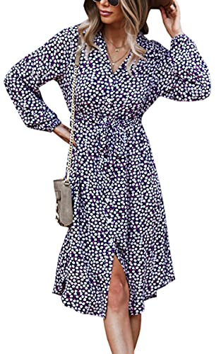 Angashion Vestidos de mujer Casual manga corta estampado floral botón abajo cuello en V verano Boho Midi vestido - - Large