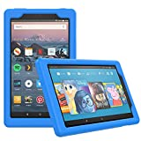 MoKo Case for All-New Amazon Fire HD 8 Tablet (7th/8th Generation, 2017/2018 Release) - Light Weight Shock Proof Soft Silicone Back Cover [Kids Friendly] for Fire HD 8, Blue