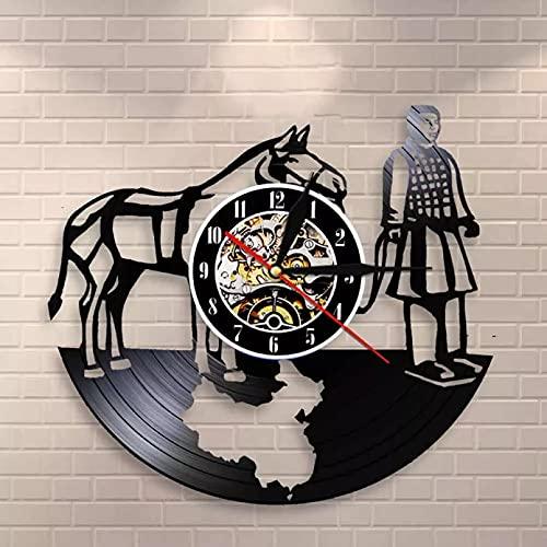 Reloj de pared de vinilo con guía de arte retro y reloj de pared decorativo