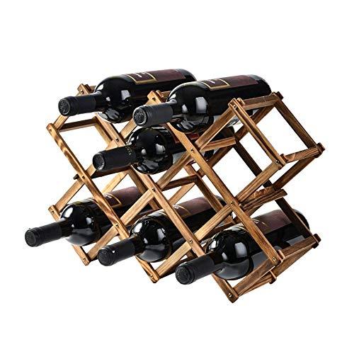 LULUVicky Botellero decorativo plegable de madera para botellas de vino, decoración de madera maciza natural, 10 botellas de vino, almacenamiento de vino en casa