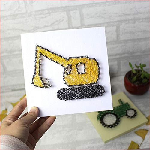 sswyfc Auto garen schilderij kinderen handleiding DIY hout nagels kronkelende foto kinderen kamer decoratie schilderij 20 * 20cm