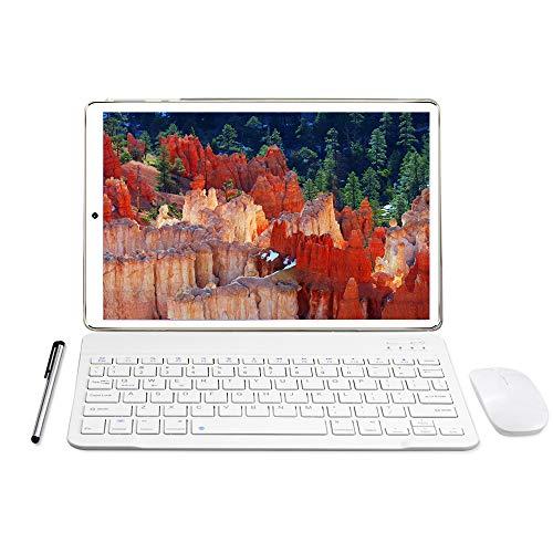 Tablet 10 Pollici - YOTOPT Android 10, 4GB RAM, 64GB ROM, con SIM 4G LTE, 128 GB espandibile, Octa-core, con WiFi, GPS, Bluetooth 4.2, Tipo-C, Oro