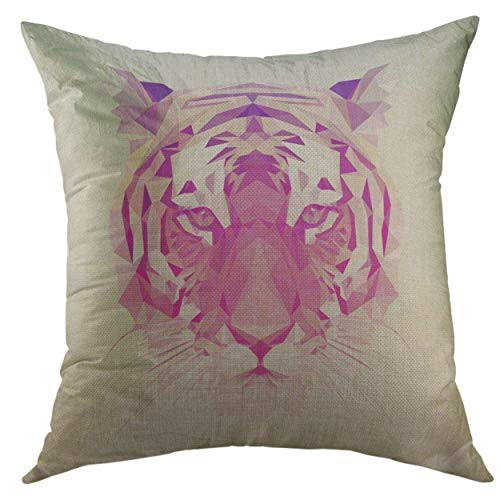 Colorful Throw Pillows Cover 22 X 22 Inch Colorful Polygon Low Poly Animal Polygonal Tiger Graphic Design Geometric Mothers Day throw pillow totoro Luxury Soft for children Couch Sofa Couch adults