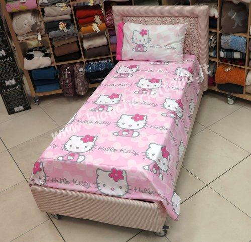 Hello Kitty Impresión con purpurina completo funda nórdica Flowers Color Rosa 1plaza Gabel Sanrio (Saco copripiumino155X 205, sábana bajera 90x 200, almohada 50x 80)–Escluso sábana de encimera