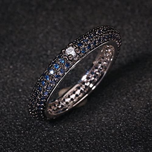 SONGK Anillo de Plata 925 de circonita de Diamante de Color magnífico de Lujo línea de circonita Negra Anillo geométrico Simple Regalo de cumpleaños Anillo de joyería de Boda