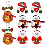 Fabur 8pcs Bolsas para Cubiertos de Navidad, Papa Noel Renos Muñeco de Nieve para Cubiertos, Decoracion de Mesa Adornos Navideños para Cena de la Tabla para sostener Tenedor y Cuchara