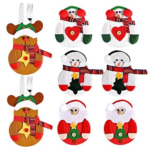 Faburo 8 PCS Posate Natale da Tavolo Costume, Natale Vestito di Tasche Porta Posate,...