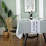 Kuingbhn Mantel Mesa Rectangular Impermeable Cubremesa Resistente a Rayones y Resistente Al Desgaste para de Hogar Picnic del Hotel Tienda de Café Cuadrícula Verde 140×160cm