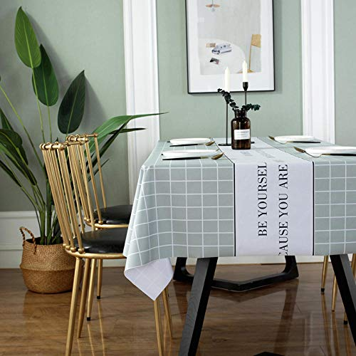 Kuingbhn Mantel Mesa Rectangular Antimanchas Impermeable Cubremesa Resistente Al Desgaste Anti Escaldado para de Hogar Picnic del Hotel Tienda de Café Rejilla Verde 90×138cm