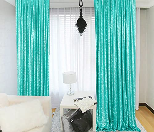 Photography Backdrops Sequin Curtains 2 Panels 2ftx7ft Sequin Backdrop Teal Glitter Backdrop for Pictures/Photographers/Baby Shower M0427
