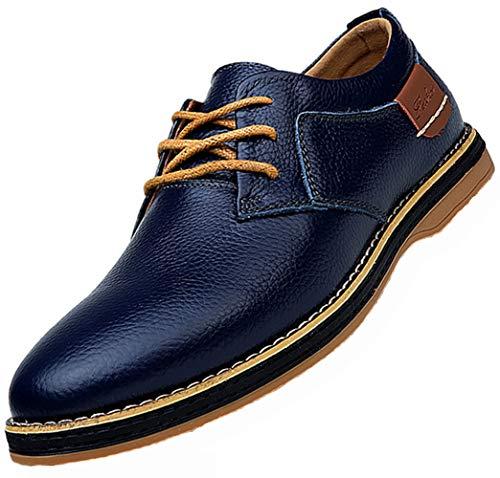 Italian Blue Shoes Men Blue Leather Dress Shoes for Men Men's Dress Shoes Black Brown Genuine Cow Leather Oxfords Business Casual Shoes Size 11 (6111-navyblue-45)