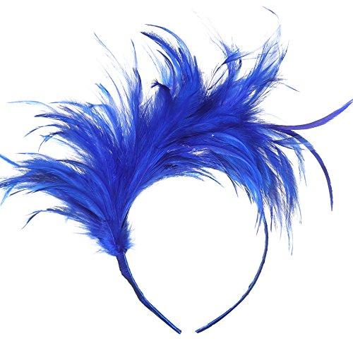 Coucoland 20er Jahre Feder Haarreif Kostüm Haarband für Karneval Fasching Stirnband Damen Halloween Zubehör (Blau)