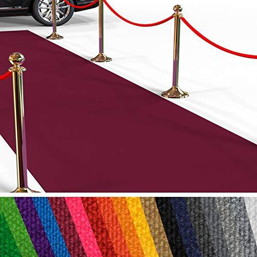 etm Hochwertiger Messeteppich Meterware | Rollteppich VIP Eventteppich, Hollywood Läufer, Hochzeitsteppich | 18 Farben in 23 Größen | Dunkelrot - 100x3000 cm