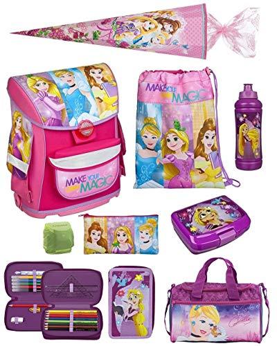 Scooli Schulranzen-Set Disney Princess 9tlg. nur 820 Gramm mit Brotzeit-Dose, Trink-Flasche, Sporttasche, Schultüte 85cm und Regenschutz Prinzessin Cinderella Mädchen-Schulranzen ab der 1. Klasse