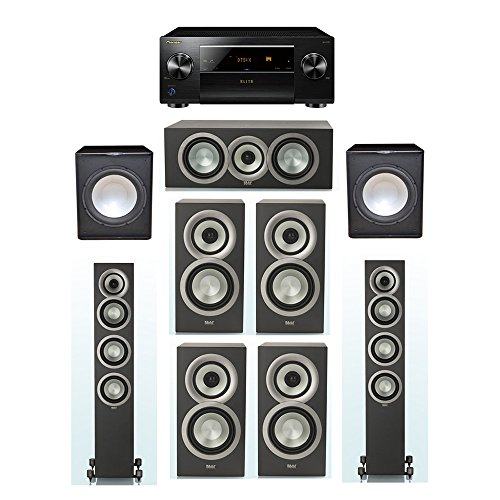 Check Out This ELAC Uni-Fi Slim Black 7.2 System with 2 FS-U5 Floorstanding Speakers, 1 CC-U5 Center...