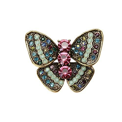 Demiawaking Damen Frauen Legierungs Diamant bestückte nett Schmetterling Kristall Brosche (11)