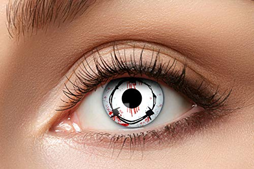 Zoelibat Farbige Kontaktlinsen für 12 Monate, Barbed, 2 Stück, BC 8.6 mm / DIA 14.5 mm, Jahreslinsen in Markenqualität für Halloween, Fasching, Karneval, weiß/grau