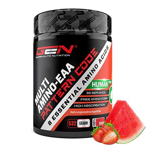 EAA in polvere - 532 g - Fragola e cocomero - Formula MAP - Tutti gli 8 aminoacidi essenziali - Bevanda Amino Workout - Sapore delizioso - Vegan