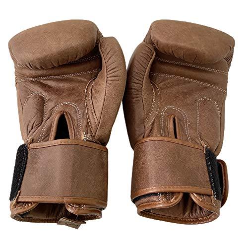 UNBRANDED SPORTS Boxhandschuhe, Sparring-Tasche, 100 % echtes Leder, für Herren und Damen, Pads, Braun, 340 g