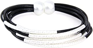 Me Plus Metal Tube Multi Strand Leather Cord Magnetic Closure Bracelet