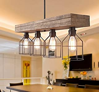 Decomust Vintage Wood Pendant Lighting Chandeliers Kitchen Aged Wood - for Kitchen, Bar, Industrial, Island, Billiard, Foyer and Edison Bulbs (32 Inches)