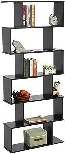 Zerone Libreria, S forma in legno con Tier 6 unità di libreria alta lucentezza grande capacità scaffali per casa e ufficio, 80x24x190cm (L x W x H) (nero)