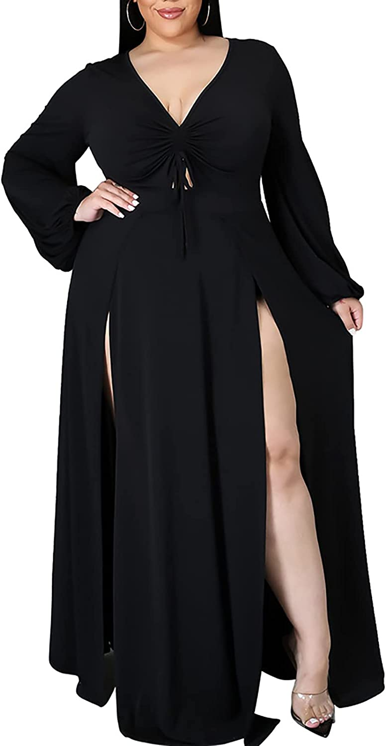 Women Plus Size Maxi Dress - Sexy Long Sleeve Ruched V Neck Tie Cut Out High Split Party Beach Long Dresses