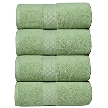 MAHI HOME Bath Towel Set in 100% Ring Spun Combed Cotton with Luxurious & Ultra Soft,Highly Absorbent,Bathroom Towels,Bath Towels,Bath Towel Cotton,Bath Towel- 27x54-Sage (Set of 4 Pieces)