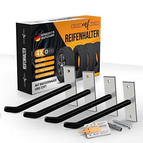 Mary Frey® Reifen Wandhalterung – [4] Reifenhalter zur Wandmontage – [40kg] Maximalbelastung – Mit [8] Schrauben & [8] Dübeln – Inklusive Wasserwaage, Reifenmesser & Stift