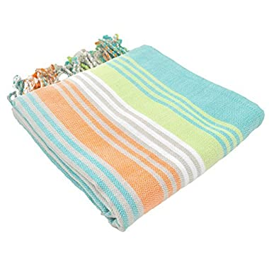 InfuseZen Striped Colorful Turkish Towels in Orange, Purple, Aqua, Navy & Lime, Peshtemal Towels for Bath, Beach, Pool Spa, Yoga, Gym, 100% Cotton Thin & Absorbent Towel, Large Hammam Towels (Mint)