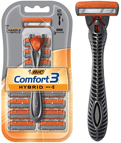 BIC Comfort 3 Hybrid Men's Disposable Razor, Three Blade, 1 Handle and 12 Cartridges, For a Smooth Shave (412732)