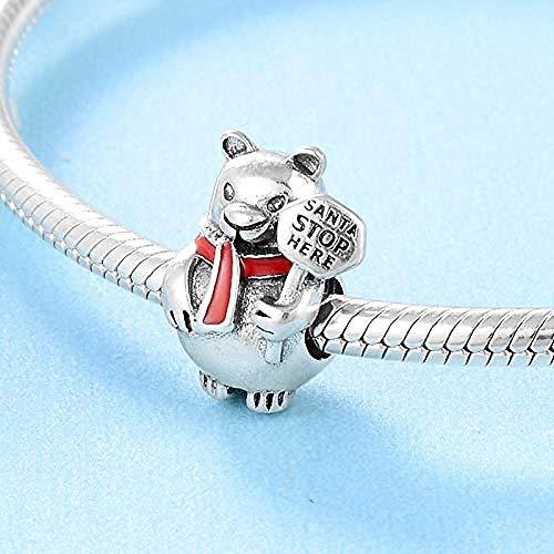 Charm Kralen,925 Sterling Zilver Schattige Rode Sjaal Teddybeer Diy Glazuur Kralen Passen Originele Armband Sieraden Maken Vriendin Cadeau