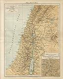 Kunstdruck Palästina Landkarte Damaskus Beirut EL Ledscha