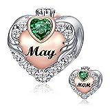 FOREVER QUEEN Mutter Liebe Herz Anhänger Charms 925 Sterling Silber Charms Anhänger für Armband Halskette für Mutter Geburtstagsgeschenk Geburtsstein Charm Bead für Damen (Mai)
