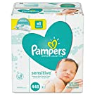 Baby Wipes, Pampers Sensitive Unscented Water Based Baby Diaper Wipes, 7X Refill Packs, 448 Count