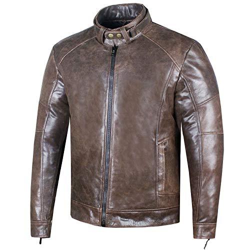 Men's Genuine Premium Leather Vintage Distress Motorcycle Biker Jacket S