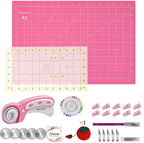 Rdutuok 45mm Rotary Cutter Set Quilting Kit, 5 Replacement Blades, A3 Cutting Mat(18X12'), Acrylic Ruler,Sewing Pins,Cushion,Craft Knife Set and Craft Clips - Ideal for Sewing,Crafting,Patchworking