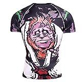 Deportiva Camisa Hombre Verano Personalidad Fresco Esqueleto Estampado Hombre Muscular Shirt Básico Cuello Redondo Ajustado Manga Corta Wicking Transpirable Funcional Shirt TD73 3XL