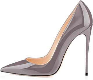 YODEKS Womens Pointed Toe High Heels Slip On Stiletto Pumps Wedding Party Basic Shoes 12cm Grey Size: 9