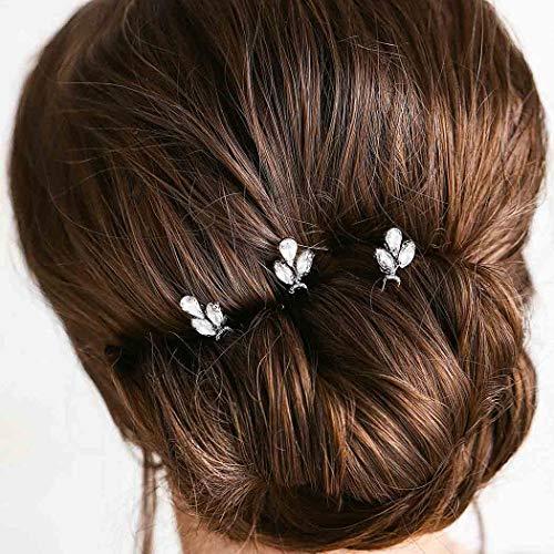 Fairvir Brautschmuck Hochzeit Silber Haarnadeln Tropfenform Strass Haarnadeln Zubehör Schmuck für Frauen und Mädchen 3 Stück