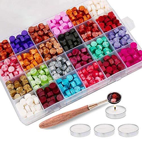 Sywan Perles de Cire d'étanchéité, octogonales avec 1 cuillère et 4 Bougies Blanches pour affranchissement et Timbre Vintage 600pcs 24 Colors