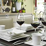 MALACASA, Serie Carina, 60 tlg. Cremeweiß Porzellan Geschirrset Kombiservice Tafelservice mit je 12 Kaffeetassen, 12 Untertassen, 12 Dessertteller, 12 Suppenteller und 12 Flachteller - 4