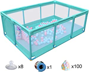 MWPO Rectangle Baby Park Kids Kids Fence Toddler Toddler Playground Activity Center Toddler Safe Large Outdoor Crawl Strong and durable with play matsand balls  128x190x66cm