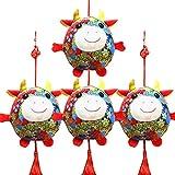 Eshylala 4pcs 2021 Chinese Ox Year Ox Mascot Plush Toy Red Chinese Knot Cow Pendant Chinese Zodiac Ox Decoration Pendants