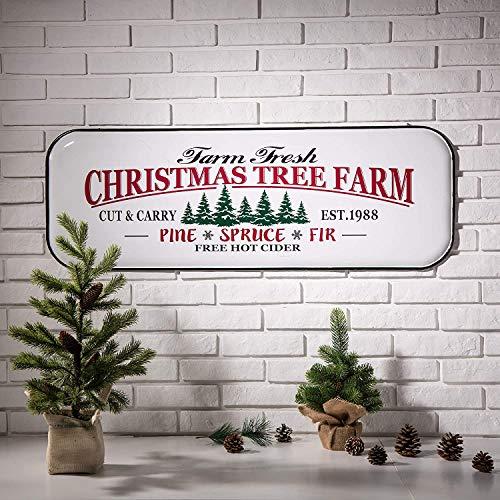 Glitzhome Metal Enamel Wall Signs Farmhouse Style Christmas Tree Home Decor 43.11' H