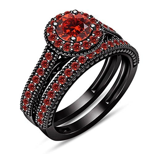 Vorra Fashion Rot Granat Brautschmuck Sets Ring für Frauen Verlobung Hochzeitstag Jahrestag massiv schwarz rhodiniert 925Silber