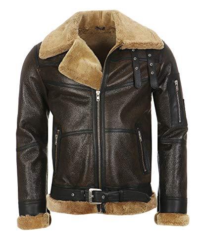 Hollert Herren Bomberjacke B16 Rocky Sylvester Style Winterjacke 100% Merino Felljacke Lederjacke Fliegerjacke Größe M, Farbe Model 3 - Walnuss/Cappuccino